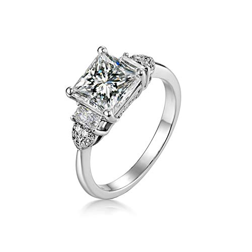Amody Engagement Rings For Women White Gold, Wedding Anniversary Rings 4-prong with Emerald Shape Moissanite 1.6 carat Size M 1/2