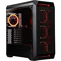 DIYPC Vanguard-V8-RGB ATX / Micro ATX / Mini-ITX Mid Tower Gaming Computer Case Chassis and USB 3.0 (Black) + Computer Fan