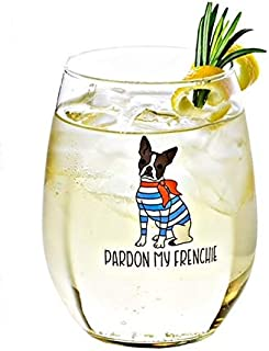 Drinking Divas Pardon My Frenchie Wine Glass - Stemless Wine, Mimosa & Cocktail Tumbler | For Dog & French Bulldog Lovers | Cute & Funny Gift for Mom, Wife, Sister, Bestie, Women | Christmas, Birthday