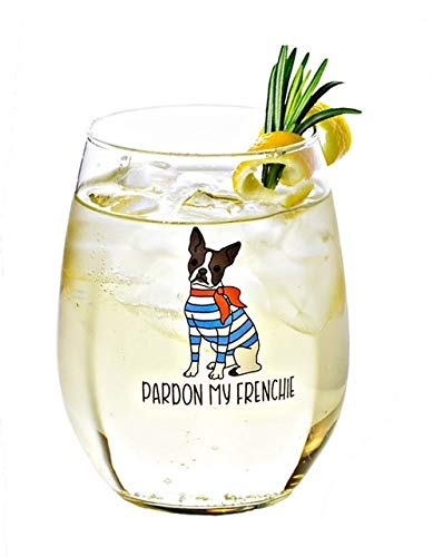 Drinking Divas Pardon My Frenchie Wine Glass - Stemless 15oz Wine & Cocktail| For Dog & French Bulldog Lovers | Cute & Funny Gift for Mom, Wife, Sister, Bestie, Women | Christmas, Birthday Present…