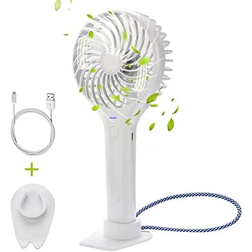 cx-kzw Mini Ventilador portátil de Mano, Ventilador USB Recargable de 3 velocidades portátiles de 3 velocidades, Adecuado para Oficina, hogar, Viaje, al Aire Libre (Blanco)