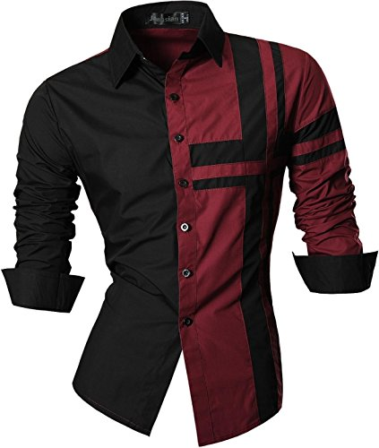 jeansian De Manga Larga De Los Hombres De Moda Slim Fit Camisas Men Fashion Shirts Z014 Winered XXL
