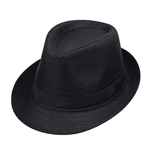 ECYC Children Jazz Hats Kids Solid Color Linen Fedoras Caps