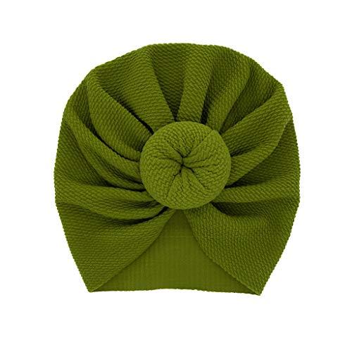 LABIUO 12 Couleurs Style Indien Noeuds Bonnet Bébé, Mode Chapeau Bandeau Turban Noeud Mou Tête Wraps pour Bébé Filles Bonnet Nouveau-Né Tout-Petits pour 0-2 Ans(Vert,Taille Unique)