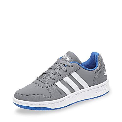 adidas Unisex-Kinder Hoops 2.0 Basketballschuhe, Grau (Grey/Ftwwht/Blue Grey/Ftwwht/Blue), 33 EU