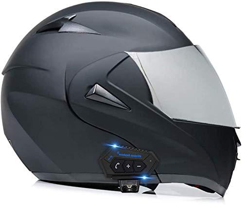 Cascos abatibles con Bluetooth para motocicleta Cascos abatible Cascos integrales Casco de motocicleta Casco para scooter Scooter Doble visera para mujeres Hombres Adultos Certificación ECE E,XL