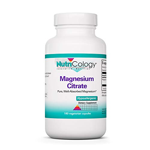 NutriCology Magnesium Citrate - Well-Absorbed, Bone and Stress Support - 180 Vegetarian Capsules