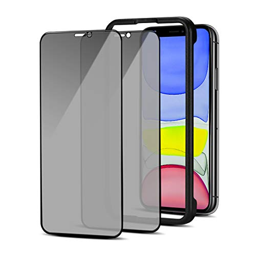 Lusee 2 Pezzi Privacy Pellicola Protettiva per iPhone 12 / iPhone 12 PRO 6.1 [con Strumenti di Installazione] Anti Spy Vetro Temperato [Anti Graffio] 9H durezza 2.5D Copertura Schermo Intero