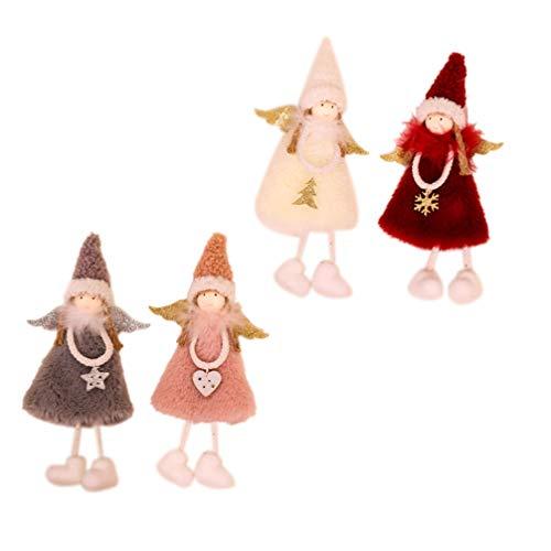 EXCEART 4 Piezas Navidad Ángel Muñecas Artesanías Elfos Decoraciones Elk Ángel Muñeca Colgante Regalos para Niños Estilo Aleatorio