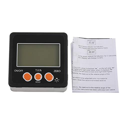 Viudecce Transportador Electrónico Inclinómetro Digital Medidor Calibre de ángulo de Caja de Bisel Digital de Aleación de Aluminio 0-360 Herramienta de Medición de Base de Imanes