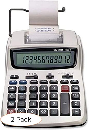 Victor Printing Calculator, 1208-2 Compact and Reliable Adding Machine with 12 Digit LCD Display, Battery or AC Powered, Includes Adapter (Tw? ???k)