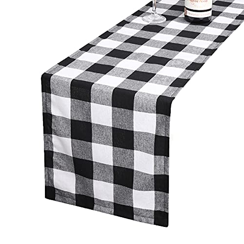 Tosewever Buffalo Check Plaid Table Runner, Cotton Polyester Blend Classic Family Dinner Table Runners for Indoor Outdoor Parties, Christmas Events Home Decoration (Black and White, 14 x 108 Inch)