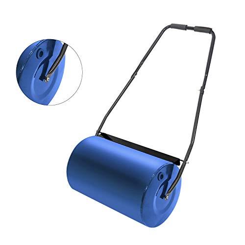57cm Rasenwalze Gartenwalze Metall Handwalze Walze Füllvolumen Wasser und Sand Durchmesser Rasenroller stabile Ausführung in Stahlblech mit Schmutzabweiser -Blau