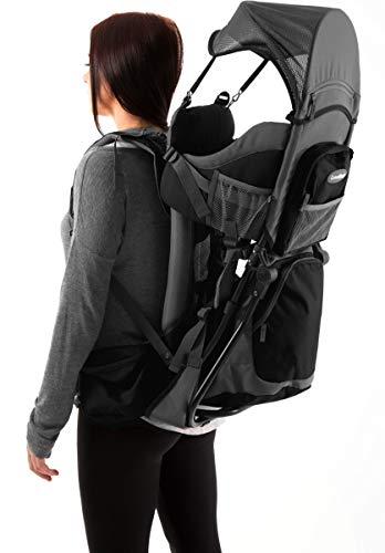 Premium Baby Backpack Carrier for Hiking with Kids – Carry your Child Ergonomically (Black/Grey)…