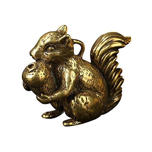 JYDQM 1 UNID Lucky Wealth Blass Squirrel Sostiene el Ornamento Colgante de la Tuerca de Pino Pequeña Estatua Estatuilla Miniatura en Miniatura Decoración de la habitación