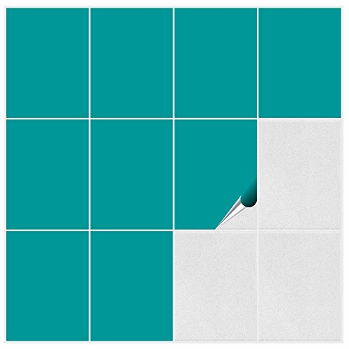 FoLIESEN Fliesenaufkleber Küche u. Bad-15x20 cm matt-15, PVC, Türkis matt, 15 Stück, Einheiten