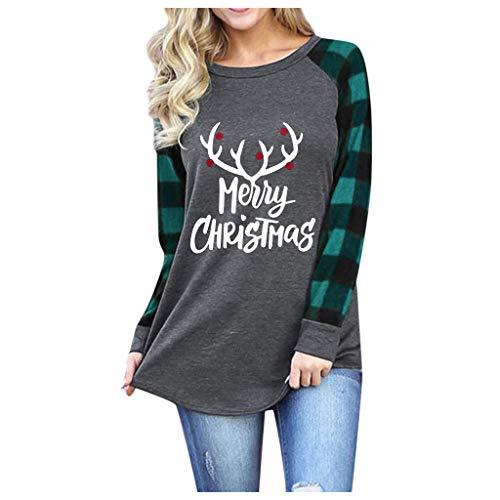 Femme Sweat Longue Pull Femme Grande Taille Sweat Noël Hoodie Casual Manches Longues Renne Imprimé Pull Chic Haut Vintage Hiver Sweat-Shirt