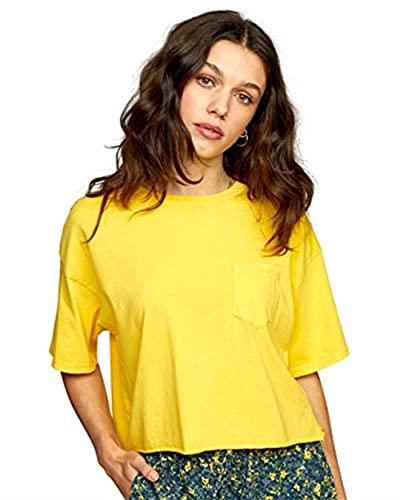 RVCA Women's Cropped Pigment Dye Short Sleeve Shirt, PTC Pocket TEE/Mimosa, Small