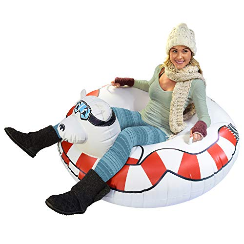 GoFloats Winter Snow Tube - Inflatable Toboggan Sled for Kids and Adults (Choose from Unicorn, Ice Dragon, Polar Bear, Penguin, Flamingo) (ST-POLARBEAR-01)
