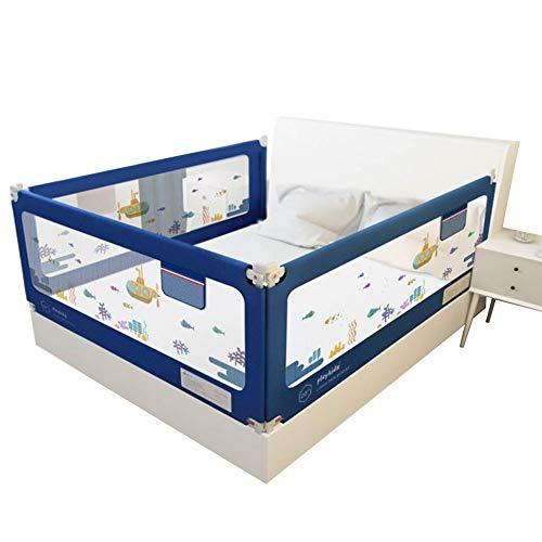 QIANDA Barrera Cama Extra Grande con Malla Ventilada Barandilla Protección Integral para Cuna Convertible, Conjunto De 3 Lados (Color : Blue, Size : 2m+2m+2m)