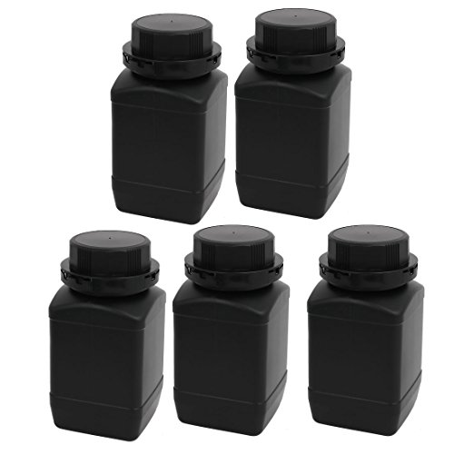 uxcell 5pcs 500ml HDPE Plastic Wide Mouth Sealed Liquid Storage Bottle Container Black