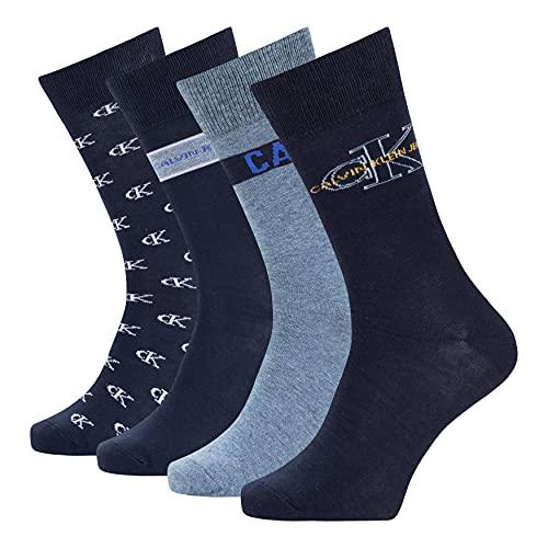 Calvin Klein Jeans Men's Crew Socks Gift Box 4 Pack Calcetines clásicos, Color Azul Oscuro, Talla única para Hombre