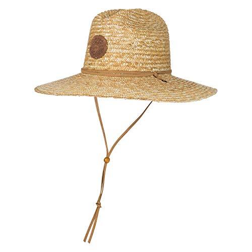 Sombrero de paja Nalu Sombrero de paja de trigo grande tipo mejicano Ala ancha y una correa de barbilla de piel.