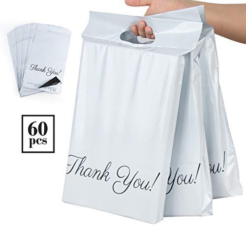 Homewit 60 Versandbeutel Plastik 250 x 350mm mitThank You Versandtaschen Blickdicht und Reißfest, Tragbare Versandbeutel,Versandumschläge mit Selbstklebendem Streifen -Weiß