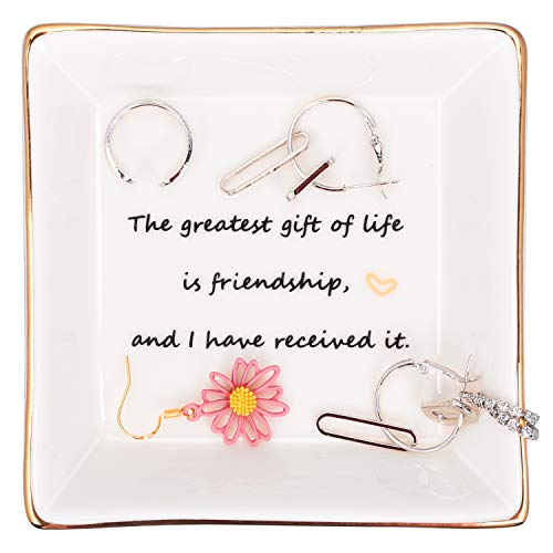 Sesoly Friendship Gifts Ring Trinket Dish for Friends Birthday Gifts for Friends Girls Women, Thegreatestgiftoflifeisfriendship-Ring Trinket Dish for Female
