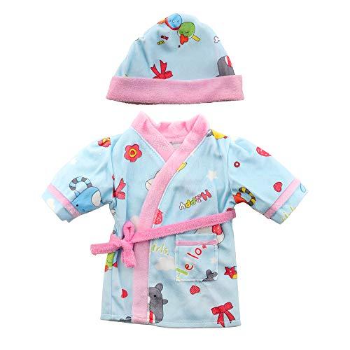 Miunana Kleidung Outfit Bekleidung für Baby Puppen, Puppenkleidung 35-40 cm, Morgenmantel mit Hut