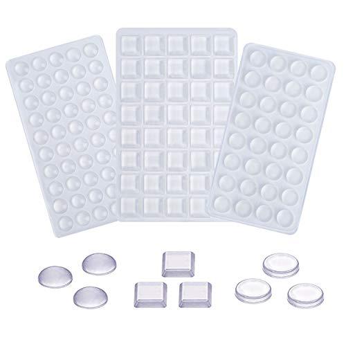 Pies de Goma de Silicona Topes Adhesivos Transparentes Cuadrado Ronda Hemisférico para Muebles Puerta Cajones 122 Piezas