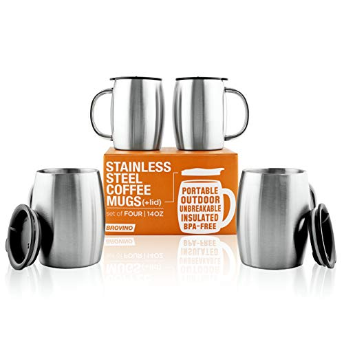 Stainless Steel Coffee Mugs with Lid (Set of 4) -14 oz Double Walled Coffee Glasses perfect for Travel, Outdoor, Camping. Vacuum, Shatterproof, Durable Coffee Mug