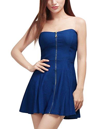 Allegra K Damen A Linie Reißverschluss Off Shoulder Minikleid Kleid Blau XS