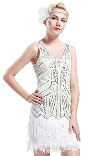 BABEYOND Women's Flapper Dresses 1920s V Neck Beaded Fringed Great Gatsby Dress (Small, White)