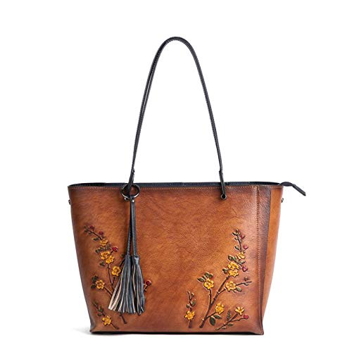 EHDFS China National Style Embroided Handbag, Women 's Leather Shoulder Bag, Crossover Bag, Vintage Sculpture Shoulder Bag, Women' s Leather Handbag Yellow