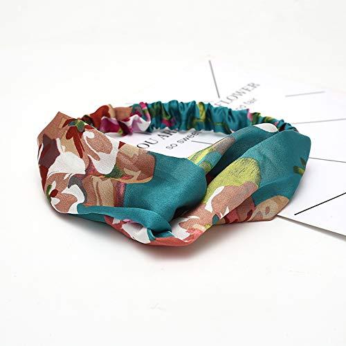 KAEHA SUN-079-03 Elastische haarbanden Turban Head Wrap Style Sjaal Deco haaraccessoires voor vrouwen, groen