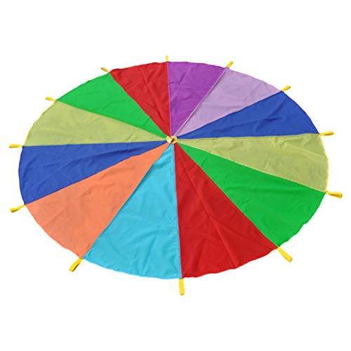 Toyvian Schwungtuch Fallschirm Regenbogen Regenschirm Outdoor Bildung mit Griffen für Kinder Zelt Spiel Trainingsspiele 2 Meter (8 Farben)