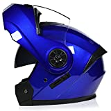 AYYSHOP Casco De Moto Integral, HD Visera Antiniebla Abatible Casco De Moto para Motocicleta, Flip Cara Moto Casco De Cuatro Temporadas Dot Homologado,Azul,L