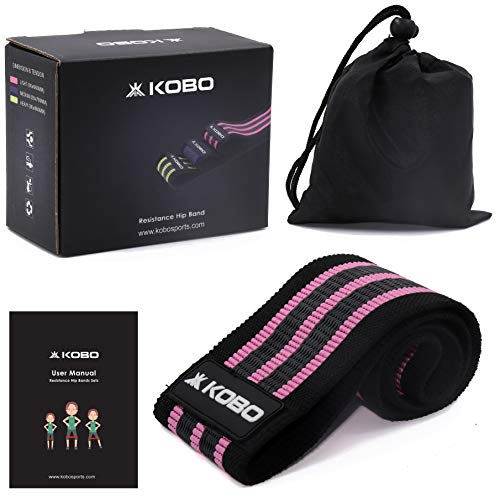 """Kobo AC-89 Resistance 3"""" Wide Non Slip Loop Band for Squats, Hips & Glutes, Yoga, Crossfit, Stretching, Physical Therapy Hip Band, Includes Travel Bag and Workout Guide Booklet, Light (Multi Colour)"""
