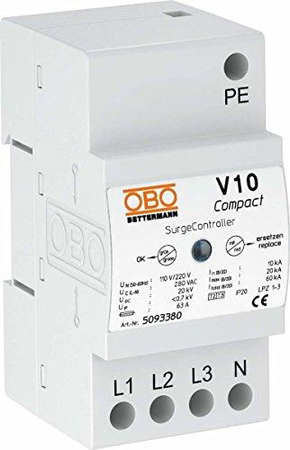 OBO Bettermann V10-Compact Überspannungsableiter für TN- und TT Netze, 3+NPE 5093380