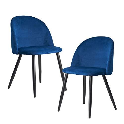 FineBuy Sedie per Sala da Pranzo Blu Set di 2 Velluto e Metallo Scandinavo Sedie   Design Sedie da Cucina Imbottito Retró   Sala da Pranzo Tessuto Poltroncina