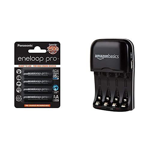 Panasonic Eneloop Pro BK-3HCDE/4BE - Pack 4 Pilas Recargables, AA, 2500 mAh & Amazon Basics - Cargador de Pilas de Ni-MH AA y AAA con Puerto USB