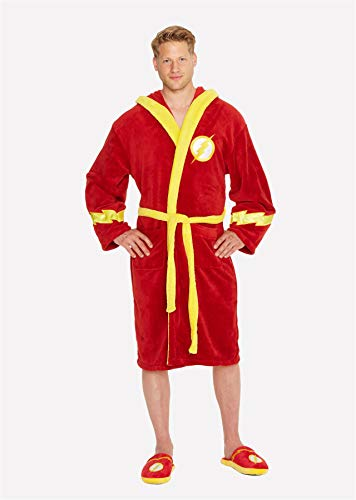 Offizielle Männer Gerechtigkeit Liga The Flash Logo Red Adult Dressing Gown Bademantel