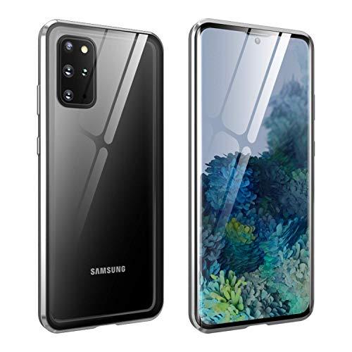 FHZXHY Carcasa para Samsung Galaxy A42 5G con cierre de seguridad transparente de doble cara HD 9H vidrio templado marco magnético metal carcasa protectora para Samsung Galaxy A42 5g 2021-plata