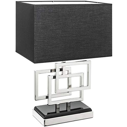 Moderne Tischleuchte LEONOR 56cm silber Modern Design mit Stoffschirm Tischlampe Lampe Nachttischleuchte