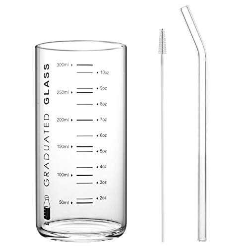 Lanthour Glass Measuring Cup, 300Ml/10.56Oz, Graduated Glass Mug with Clear Scale, Drinking Measuring Jug for Milk Tea Coffee, Including Glass Straw & Mini Brush, Black Scale