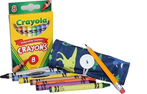 On The Go Crayons Caddy Holder wrap roll up case, Holds 9 to 18 Favorite Colors, Perfect to Keep Your Kids Organized, Inspired, & Entertained -8 Crayons Included! USA Handmade (Dino, Small)