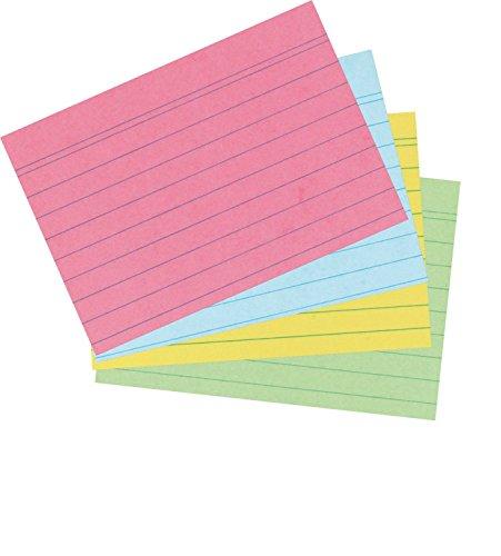 Herlitz Karteikarten DIN A7   800er Packung   liniert, Sortiert   4 Farben   gelb, grün, blau, rot (je 200 Stück)
