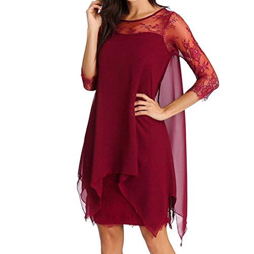 Damen Kleider Sommer Ronamick Frauen Chiffon Overlay Dreiviertel Ärmel Spitze Kleid Oversize S-5XL Kleid Abendkleid cocktailkleider Petticoat(XL, Rot)