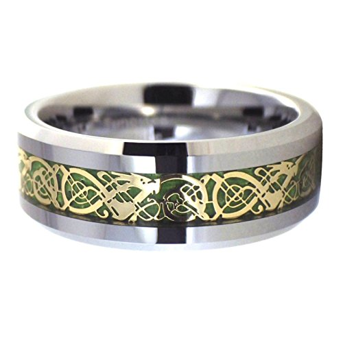 Fantasy Forge Jewelry Tungsten Gold Celtic Dragon Ring Green Carbon Fiber 8mm Handfasting Wedding Band Size 6.5